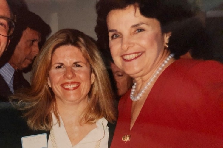 Debra Olson with Senator Dianne Feinstein in 1988