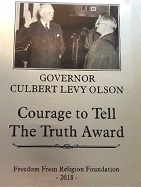 Governor Elect Culbert Levy Olson being sworn in